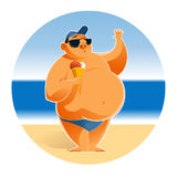 Big man on the beach Royalty Free Stock Photos