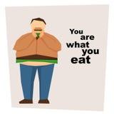 Big man eat hamburger Stock Photo