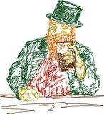 Big man with a red beard holds a mug of beer at bar. vector illustration