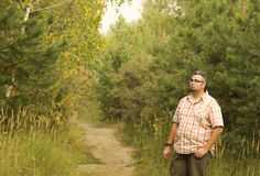 Big man walking outdoor in the forest, healthy attitude lifestyl Royalty Free Stock Photography