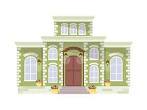 Big mansion vector. Green mansion isolated on white background. Vector illustration Royalty Free Stock Photography