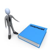 Big Manual. 3d person standing next to a big manual royalty free illustration