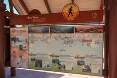 Big map of Grand Canyon National Park. Grand Canyon National Park, Arizona, USA – August 10, 2009: A big map gives visitors of Grand Canyon National Park stock images