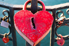Big marriage love symbol padlock on bridge. With grungy keyhole royalty free stock photos