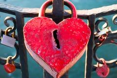 Big marriage love symbol padlock on bridge Royalty Free Stock Photos
