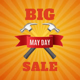 Big May Day sale background. Big May Day sale. May 1st. Labor Day background with two hummers and red ribbon. Poster, or brochure template. Vector illustration Vector Illustration