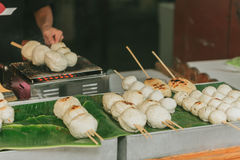 Big Meat Ball from pork product at street food in Thailand. Royalty Free Stock Images