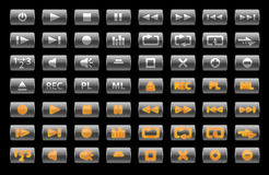 Big media-buttons set. Large ammount of different media-buttons. Designers who are working on any kind of audio/video design projects will find this set usefull Stock Illustration