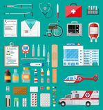 Big medical set. Medicine pills capsules, bottles and healthcare devices. Ambulance car and helicopter, hospital building. Healthcare, medical diagnostics Stock Photo