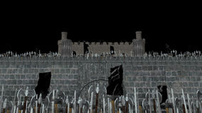 Big Medieval Army of Warriors Invading and Climbing a Castle in Alpha Channel