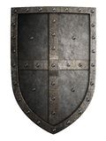 Big medieval crusader's metal shield isolated. On white Stock Photos