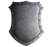 Big medieval metal shield isolated Royalty Free Stock Images