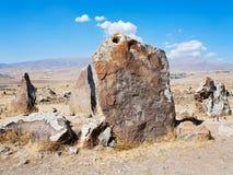 Big megalithic menhirs of Zorats Karer in Armenia Royalty Free Stock Photo