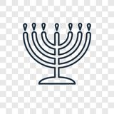Big Menorah concept vector linear icon isolated on transparent b stock illustration