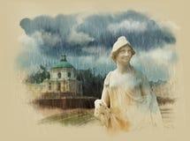 Big Menshikovsky Palace. Oranienbaum. Saint-Petersburg. Watercolor sketch. Sepia. Stock Photo