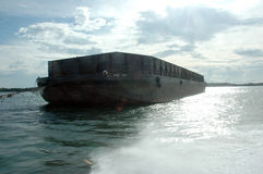 A big metal boat pontoon. At the sea Royalty Free Stock Images