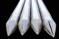 The big metal pipes pointe isolated Royalty Free Stock Photography