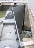 Big metal river sluice door Royalty Free Stock Photo