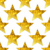 Big metallic golden stars seamless background. Royalty Free Stock Photos