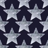 Big metallic silver stars seamless background. Stock Image