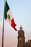 Big Mexican Flag on Zocalo near Cathedral, Mexico City Royalty Free Stock Image