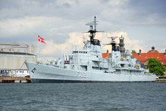 Big military ship in Kobenhavn, Copenhagen, Denmar Stock Images