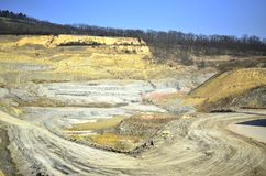 Big mine with yellowish soil Royalty Free Stock Images