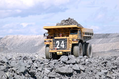 Big Mining Truck. A picture of a big mining truck taken at a gold mine Royalty Free Stock Photo