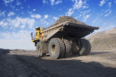 Big mining truck. A picture of a big yellow mining truck at worksite Stock Images
