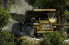Big mining truck. A big yellow mining truck at work Stock Image