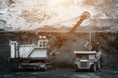 Big mining truck unload coal Royalty Free Stock Photo