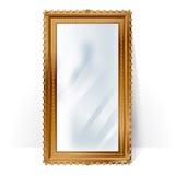 Big mirror in vintage frame, blurry reflection. royalty free illustration