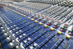 Big mixer console. Big Mixer on a stage during a sound check Royalty Free Stock Photography
