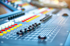 Big mixer console in a concert stage Stock Images