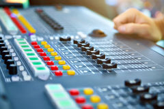 Big mixer console in a concert stage Stock Photography