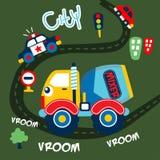 Big mixer truck funny animal cartoon,vector illustration. For t shirt and wallpaper or book vector illustration