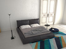 Big modern Bedroom in an apartment. 3d rendering Royalty Free Stock Photos