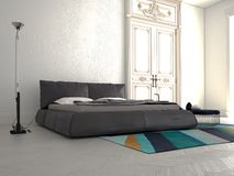 Big modern Bedroom in an apartment. 3d rendering Royalty Free Stock Image