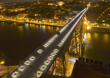 Big modern bridge at nighttime Royalty Free Stock Image
