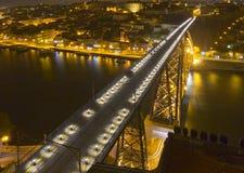 Big modern bridge at nighttime. Modern bridge at nighttime; view from above royalty free stock image