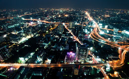 Big modern city. Night a big modern city with highways, top view stock images