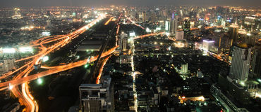 Big modern city. Night a big modern city with highways, top view royalty free stock image