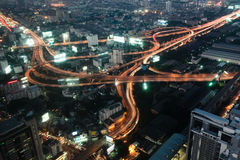 Big modern city. Night a big modern city with highways, top view royalty free stock images