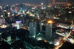 Big modern city. Night a big modern city with tall buildings, top view royalty free stock photos