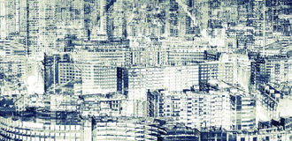 Big modern city, abstract double exposure Royalty Free Stock Image