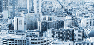 Big modern city background, blue toned Stock Photos