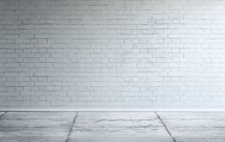 Big modern empty room with white painted brick wall stock illustration