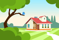 Big Modern House Residence Estate With Garden Royalty Free Stock Photo
