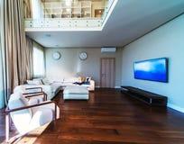 Big modern living room. With TV stock photo