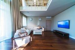 Big modern living room. With TV stock photos